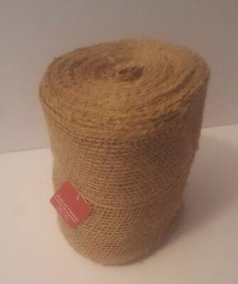 """30 ft, 5.5"""" Wide JUTE BURLAP Mesh Ribbon Roll Natural Tan, Finished Unwired Edge"""