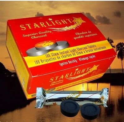 100 Pcs STARLIGHT 33mm Hookah Charcoal Quick Lite Shisha coal Incense FREE SHIP