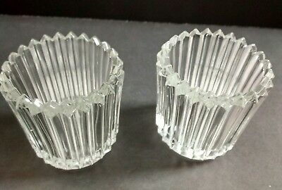 2 Indiana Glass, Clear Paneled Tealight Votive Holders....24 available