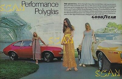1971 Goodyear Polyglas GT Tire Magazine Ad Ford Pinto AMC Javelin 401 2 Page