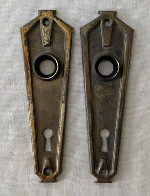 Set of Vintage Art Deco Stamped Brass Door Knob Backplates - Geometric Shape