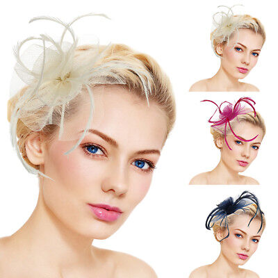 Women's Fascinator Hat Flower Mesh Ribbons Feathers Headband Cocktail  Party