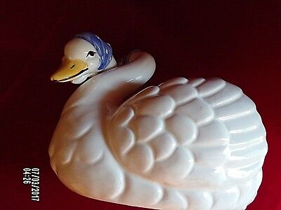 Large Goose Planter - 2 Geese in one w/Blue Scarves