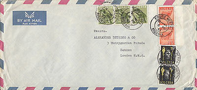 H 421 Nigeria Ebute Metta air 1961 cover UK; 7 stamps; 6 shillings 6d rate