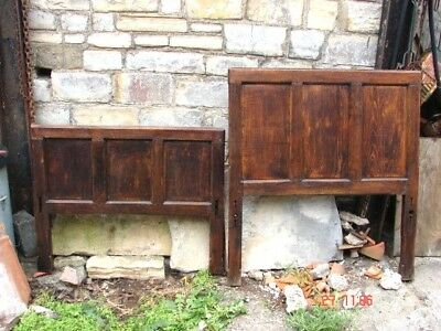 Early Antique Jointed Oak Panelled Bed Ends in Good Condition