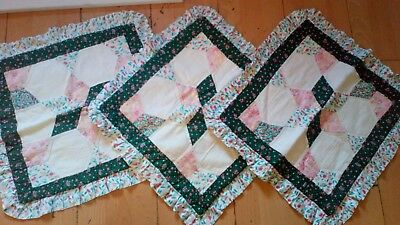 vintage patch work embroidered cottage cozy living room bedroom pillow cases X3