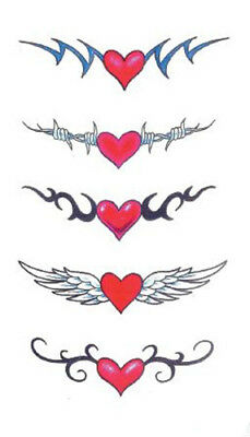 Waterproof Temporary Fake Tattoo Stickers Red Love Heart Wings