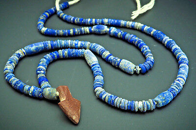 Wonderful Ancient Egyptian Hieshi Lapis White Coral Arrow Head Bead Necklace