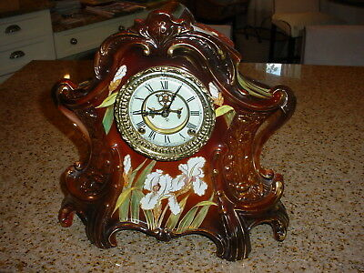 Vintage Ansonia Open Escapement Royal Bonn Iris Clock, Magnificent