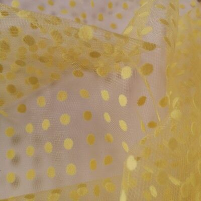 "Soft Tulle 100% Nylon Tutu Spotty Flocked Dots L Netting Fabric 54""Wide UKSeller"