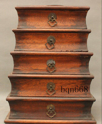 "13"" China old Huang Yellow Huali Wood  5 Drawer Palace Tote Jewelry Storage box"