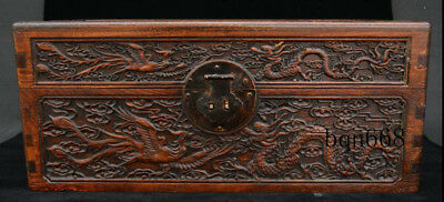 "16"" China old Huang Huali Wood carving Dragon Phoenix Jewelry Storage Box"