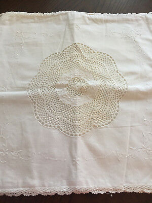 Vintage Pillow Cover~Crochet Lace Insert Embroidered White On White