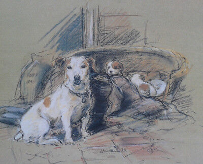 Nora Howarth. Limited edition print of a Jack Russell Terrier and pups, unframed