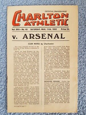 1950 - CHARLTON ATHLETIC v ARSENAL PROGRAMME - 1ST DIVISION - 49/50