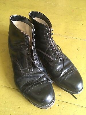 Vintage 1940's 1950s Rare Lace-up Leather Ankle Canvas Lined Boots Mens 10 Vtg