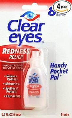 6 Pack CLEAR EYES DROPS REDNESS RELIEF -  0.2 OZ .6 ML Each - Exp 09/2020