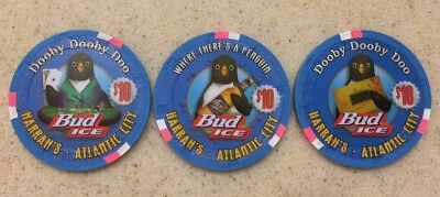 $10 Harrah's Atlantic City Bud Ice Penguin Numbered Chip Set - Uncircu Condition