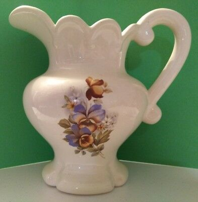 Vintage 1982 Ceramic Victorian Style Water Pitcher Ivory Blue Floral Pansies