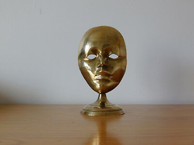 c.20th - Vintage French France Brass Mask Figure on a Stand