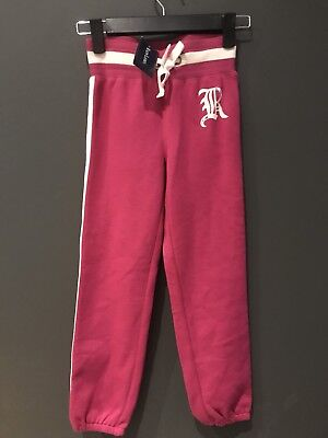 BNWT Girls Ralph Lauren Age 6-7 (S) Full length hot Pink & cream Jogging Bottoms