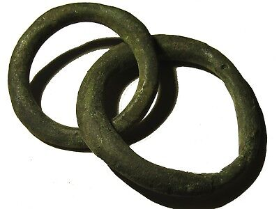 2 Fragments Of A Bronze Ancient Roman Chain