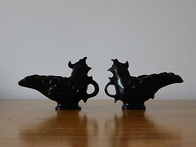 c.18th - RARE  Antique Chinese Spinach Green Jade Chicken Cup Pair Set - Qing