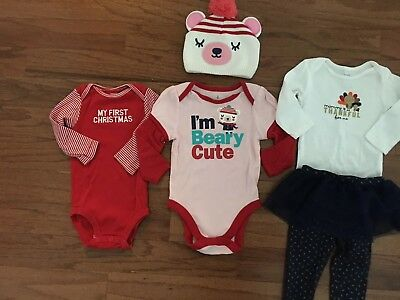 Carter's Old Navy Lot of 5 Thanksgiving Christmas One Piece Outfits 9 Months
