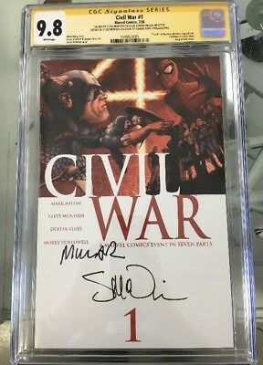 Civil War #1 CGC Graded 9.8 Signed By Mcniven And Millar