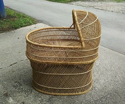 Vintage Wicker Rattan Bohemian Baby Bassinet ~ Pick Up Only