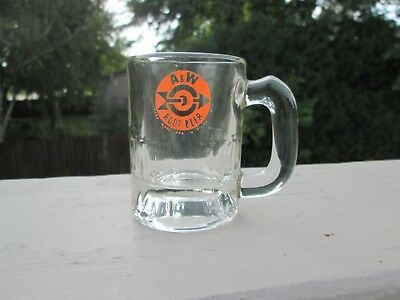 Vintage A & W Small Root Beer Glass Mug, Orange Logo with Arrow in Middle, 3.25""