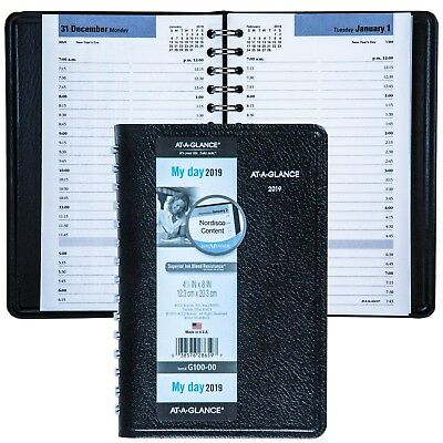 """2019 At-A-Glance DayMinder G100 G100-00 Daily Appointment Book, 4-7/8 x 8"""""""