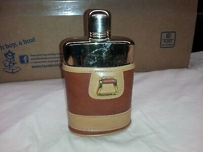 Vintage Leather & Glass Whiskey Flask from 1952