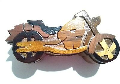 Motorcycle wood handmade puzzle box NEW compartment inside