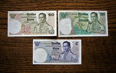 Lot Of (3) Thailand Baht Paper Money Notes excellent condition