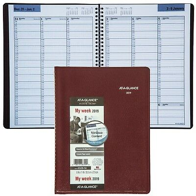 """2019 At-A-Glance DayMinder G520-14 Weekly Appointment Book 8x11"""" Burgundy Cover"""