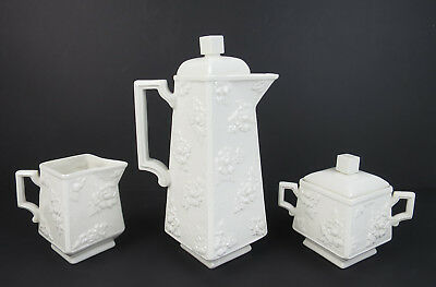 Rare Vintage Boehm Porcelain 3pc Rose Coffee Set Pot Creamer Sugar Bowl Tea
