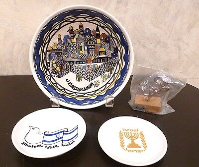 Lot of 4 Vintage Items from Israel Jerusalem Bowl Metal Figure Small Plate Bowl