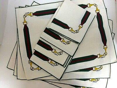 Vintage Gucci White Linen Napkins and Placemats Set of 4