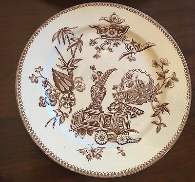 "Transfer-ware Aesthetic Pattern Plate 9.5"" 1878 Thomas Elsmore & Son Brown"
