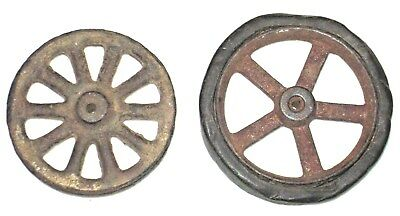 Antique Toy Cast Iron Spoke Wheels One with original Rubber