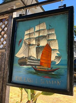 Authentic English Pub Sign The East Indiaman Double-Sided