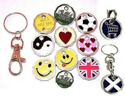 Trolley New £1 Pound Coin Token Shopping Key-Ring Shopping Trolley Lock Design
