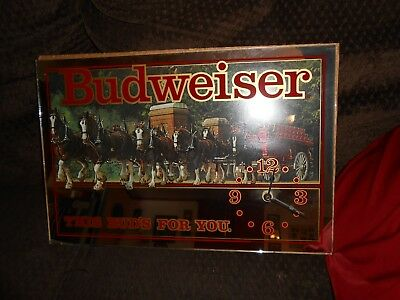 Budweiser Clydesdale Mirror Clock Anheuser Busch-This Bud's For You