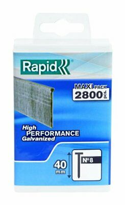 Rapid High Performance No.8 Galvanised Steel Brad Nails, Wire Length 40 mm, 500