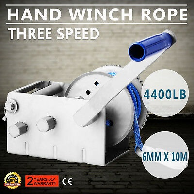 2000KG 4410LBS Hand Winch Synthetic Dyneema Rope Boat Car Trailer 3 Speed 10M