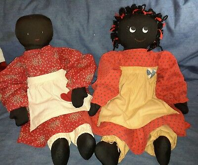 3 Hand Made Black Americana Family Primitive Folk Art Cloth Rag Dolls & BabyToo