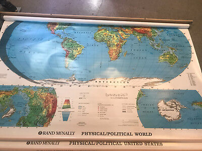 3 LAYER PULL Down Map Classroom Rand McNally Physical Political ...
