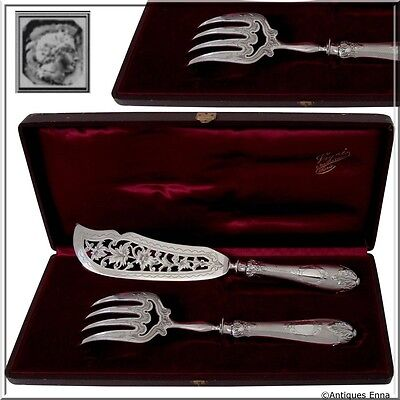 Antique French Sterling Silver Fish Servers Set 2 pc w/original box
