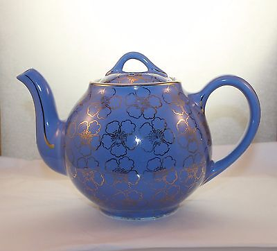 Vintage HALL French Blue Floral 6 Cup 049 Tea Pot